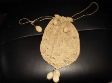 ANTIQUE BEIGE LACY CROCHET DRAWSTRING PURSE DOLLY BAG WITH HANDMADE BELL PULLS